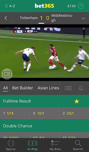 NHS mental health chiefClaire Murdochsavages the predatory tactics that ¿turn the occasional flutter into a dangerous habit¿.These include bet-to-view live streaming of sporting events (pictured), pervasive advertising, free offers and VIP experiences for big-spending customers