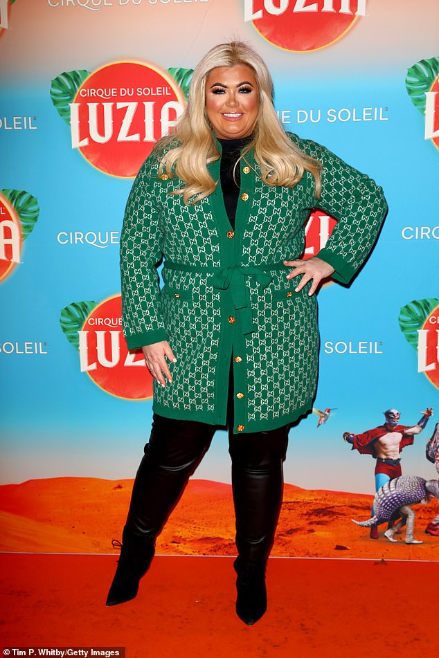 Style: Gemma put on a green and white print coat that combined with a black top and matching leather pants at the event