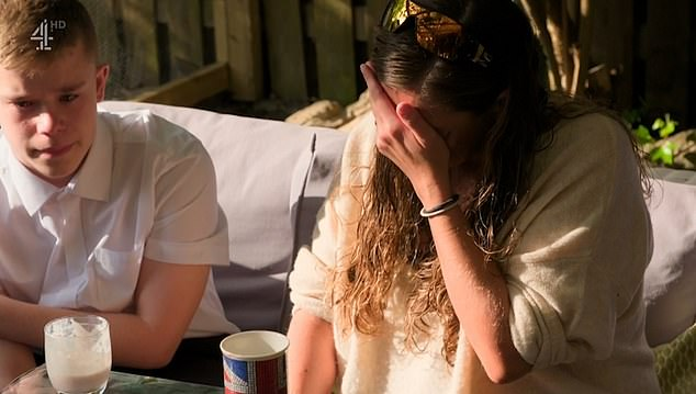John and Dawn (pictured crying), from the north of England, and their sons Sam and Maxwell, adopted two adorable piglets for three weeks on Channel 4's Meat the Family