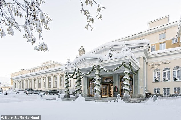 Luxury return: the wedding ceremony will take place in the building of the town hall of St Moritz, while the couple will take over the five-star hotel Kulm St. Moritz (pictured) for a dazzling party