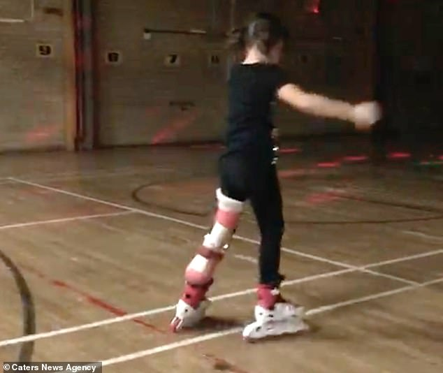 Ms Eldred went on to explain that despite the rotationplasty being 'controversial', her family knew it was the best thing for her. Pictured above: Amelia enjoys rollerskating
