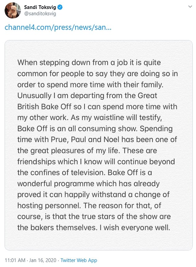 Toksvig said in a statement that 'spending time with Prue, Paul and Noel has been one of the great pleasures of my life'