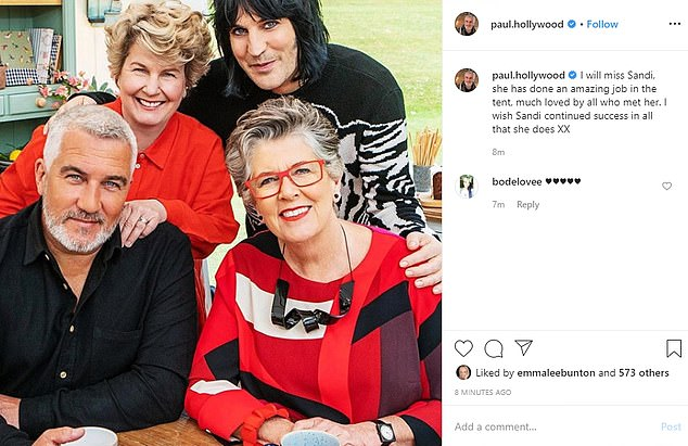 Paul Hollywood paid tribute to Toksvig in an Instagram post, with a picture of the four stars