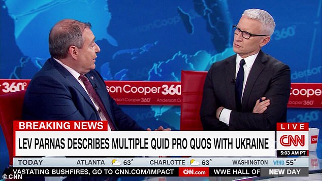 Lev Parnas told CNN's Anderson Cooper the actions taken with the Ukraine where 'all about the 2020' presidential election and keeping Donald Trump in office