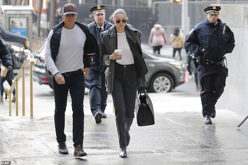 Supermodel Gigi Hadid arrives at a Manhattan courthouse on Thursday for Harvey Weinstein's jury selection in his trial