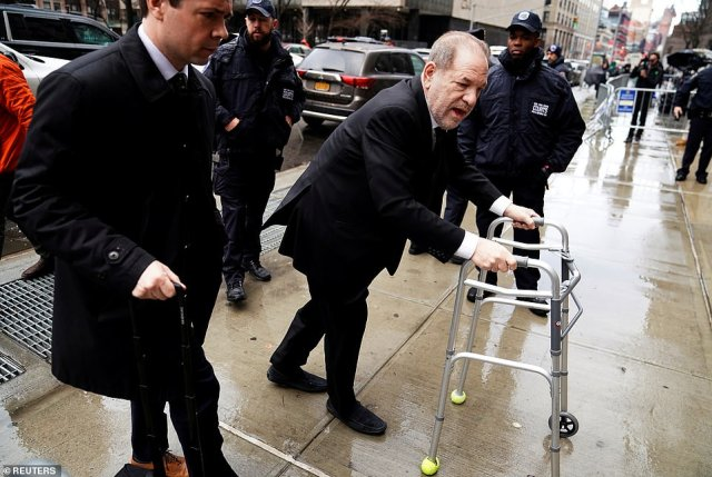 Weinstein's lawyers have slammed his trial's 'carnival' atmosphere as jury selection stretched into an eighth day Thursday with 200 potential jurors remaining. The shamed producer is pictured arriving at court on Thursday