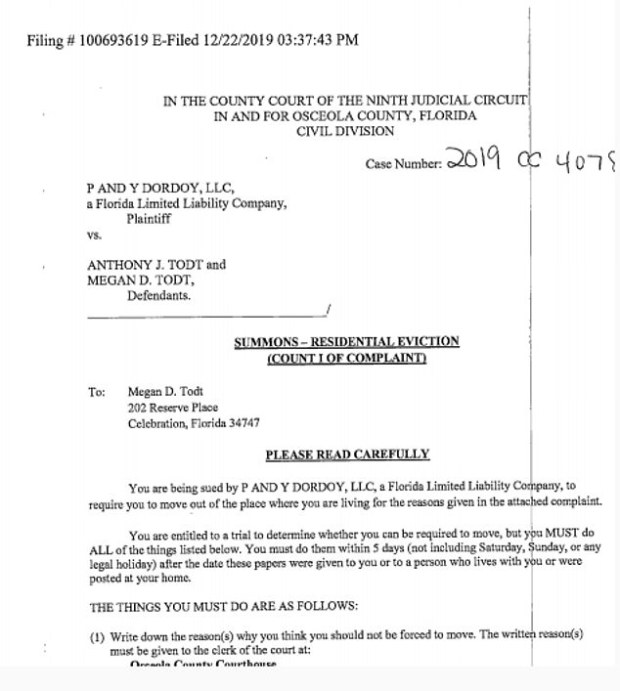Pictured: a residential eviction document filed on December 22 against Anthony and Megan Todt at the home address in Celebration, Florida