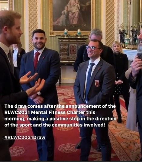 Harry was also filmed enjoying banter Australian comedian Adam Hills who he praised for his 'beautiful beard'