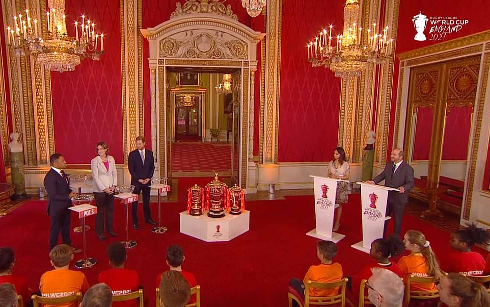 Harry was able to use his grandmother's magnificent London home as the setting for the world cup draw