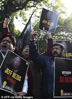 Street traders protest against Amazon tycoon Jeff Bezos in New Delhi