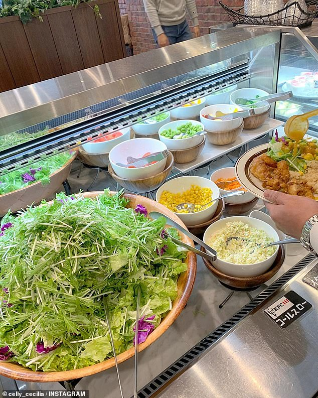 There's a salad bar where you can create your own salad with ingredients and dressing