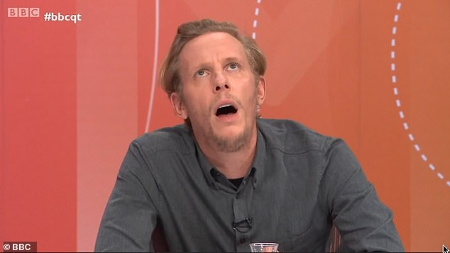 Laurence Fox rolls his eyes and looks to the ceiling as he denied treatment of Meghan Markle was racist, declaring 'Oh my God' when called a 'white privileged male'
