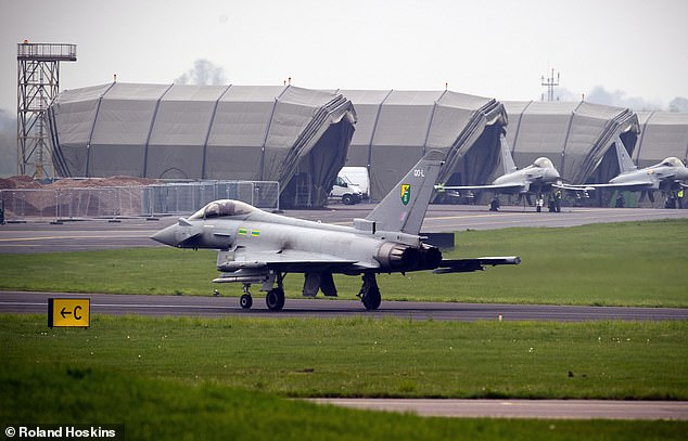 The Ministry of Defence confirmed to MailOnline that the disruption was caused by one of its jets from RAF Northolt (stock image) extending its sortie into civilian air space