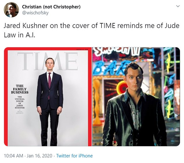 One man said: 'Jared Kushner on the cover of TIME reminds me of Jude Law in A.I.'