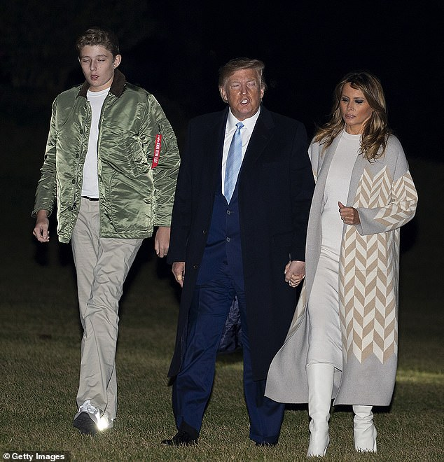 Personal Style: Barron wore a similar greenAlpha Industries jacket when he and his parents returned to D.C. earlier this month after spending the holidays at Mar-a-Lago