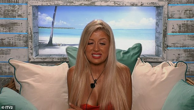 Distraught: While Jess later said in the Beach Hut: 'My whole experience is going to be different without her... I'll be thinking about her the whole time'