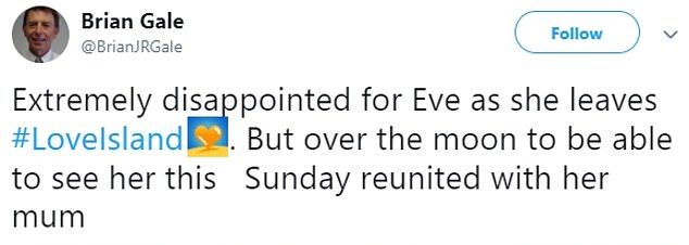Brian also tweeted to say he was 'extremely disappointed for Eve' after she was sent home from the show last night