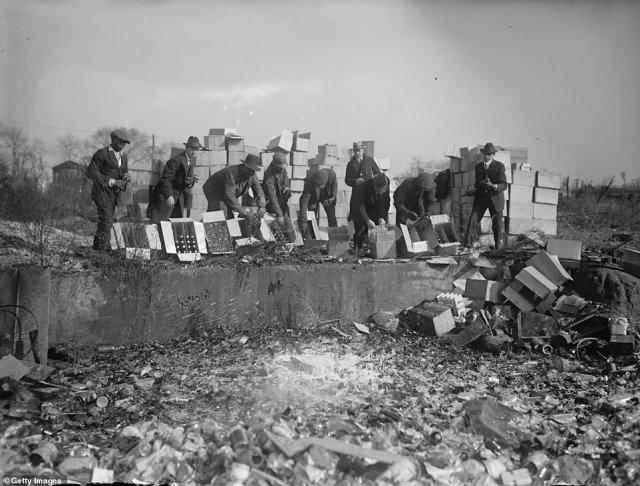 A group of men are seen destroying bottles of whiskey and beer in 1923. The Temperance Movement began locally among evangelical reform groups in the United States during the 1840s, but took a backseat during the Civil War. However, by 1916, more than 20 states had passed legislation that curtailed alcohol and the stage was set for a federal ban.