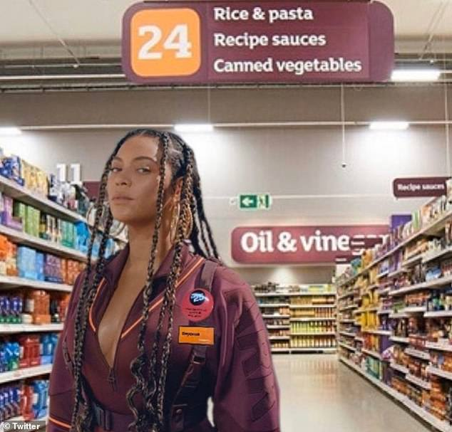 Spitting image: Beyoncé, 38, bore a striking resemblance to a Sainsbury's checkout girl in her premiere image of her collection. One fan went as far as superimposing Beyonce over an image of an aisle in the supermarket