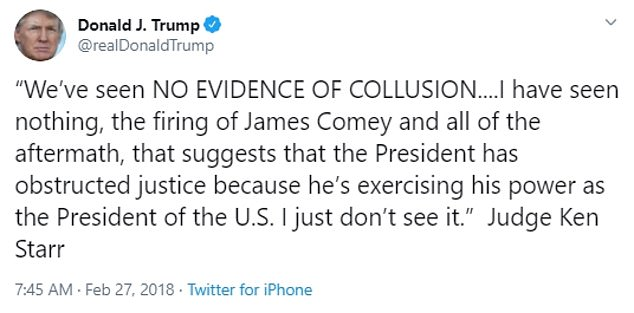 Trump quoted Starr in a series of tweets in 2019 during the controversial Russian investigation