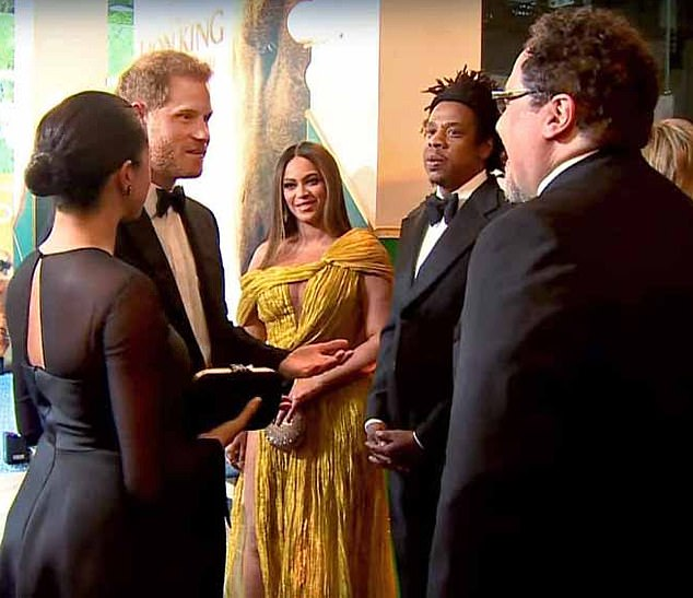 The Duchess of Sussex joked that she and Prince Harry attended the premiere of The Lion King in London to 'pitch' for work, new footage from the event reveals