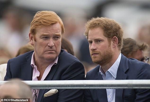 Archie's godfather Mark Dyer and Prince Harry at the Sentebale Concert, Kensington Palace, in 2016