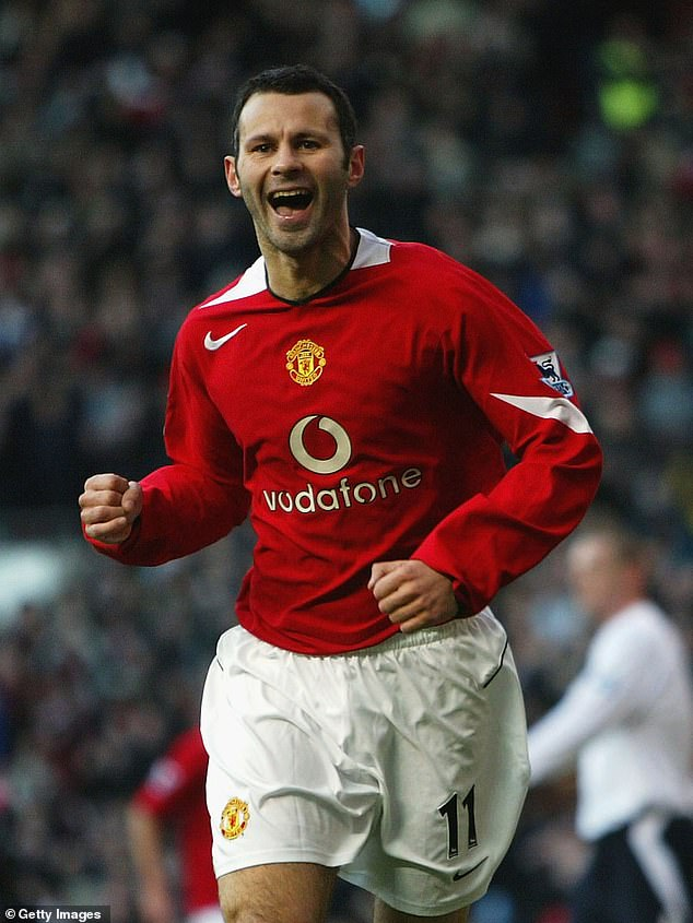 Ryan Giggs of Manchester United celebrates his goal against Bolton Wanderers during the Barclays Premiership match between Manchester United and Bolton Wanderers at Old Trafford on December 26, 2004