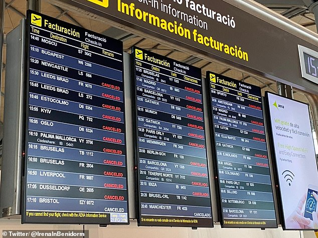 Vacationers face another 24 hours of chaos at Alicante airport as the storm rages