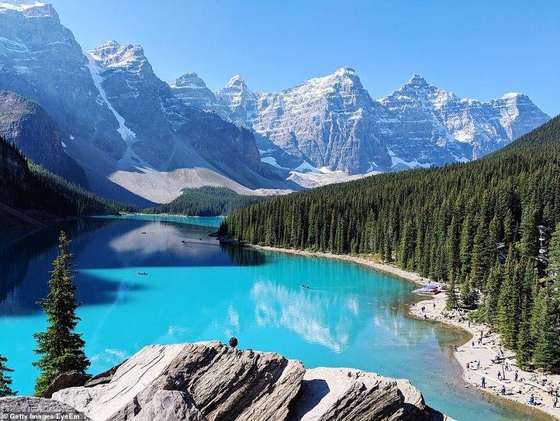 Heart of the Rockies: The stunning Lake Louise (above) is located in Banff National Park.Moraine Lake is quieter and just as beautiful