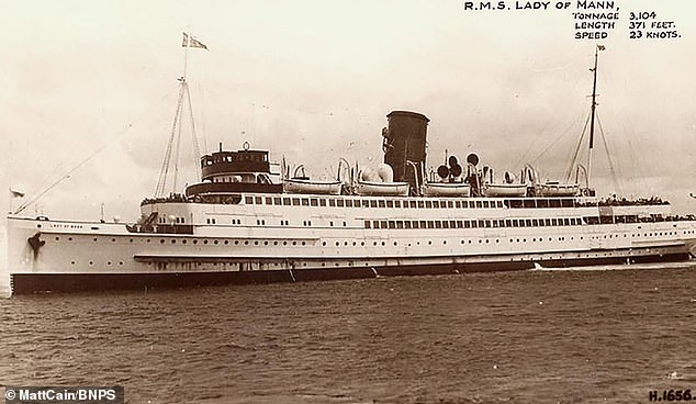 A postcard featuring the passenger ship RMS Lady of Mann