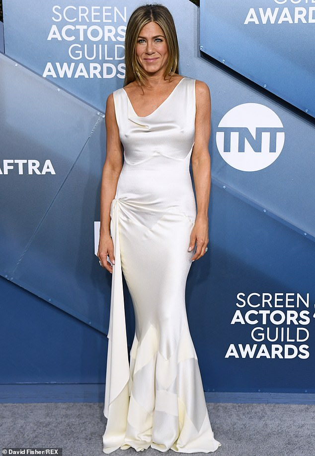 Glowing: Jennifer Aniston lived up to her reputation when she hit the Screen Actors Guild Awards red carpet in Los Angeles on Sunday night