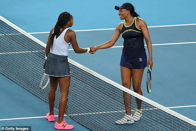 Williams congratulates the 15-year-old following yet another remarkable victory in Melbourne
