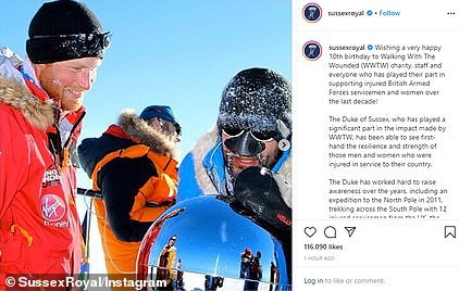 The Duke of Sussex has supported the Walking With The Wounded charity over the past ten years - including by trekking across the South Pole with 12 injured servicemen in 2013 (above)