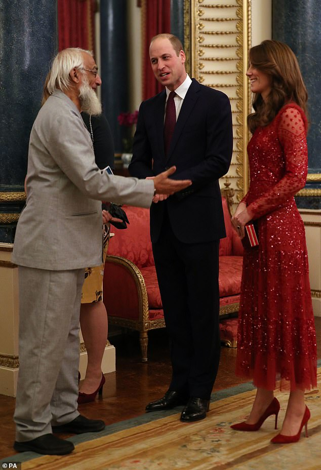 The Duke and Duchess of Cambridge welcomed a guest to a reception at London's Buckingham Palace to mark the UK-Africa Investment Summit (pictured)