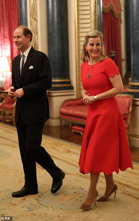 The Earl and Countess of Wessex arriving at a reception at London's Buckingham Palace to mark the UK-Africa Investment Summit