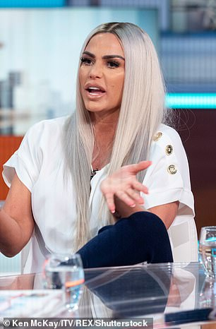 Rivalry? Katie Price (pictured in March 2019) is believed to have branded Bianca Gascoigne a 'beg' as the model left a flirty message under one of Kris Boyson's recent Instagram snaps