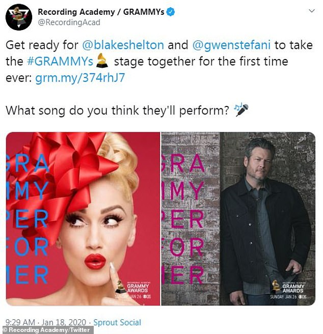 Airing next Sunday on CBS! The 6ft5in country crooner and Stefani will perform the single live for the first time together at the 62nd Annual Grammy Awards