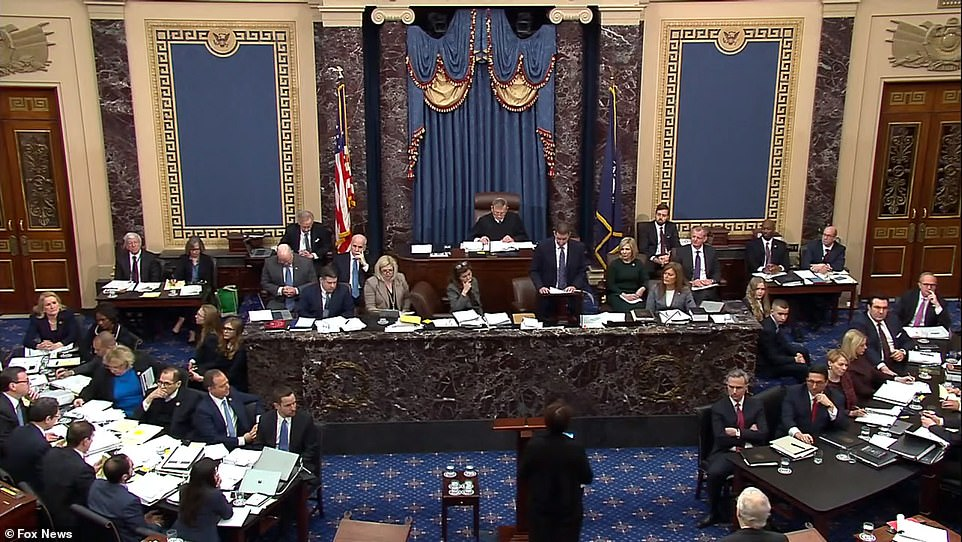 House managers and White House lawyers each sat at opposing benches on either side of the Senate chamber. Senators were crequired to remain seated at their desks