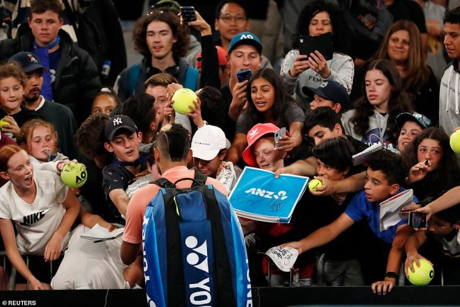 Tennis bad boy Nick Kyrgios was left fuming after a reporter questioned him about why he tossed a banana peel at a fan