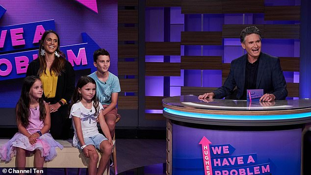 'They want to hear stories':Dave, who is very candid on his TV show Hughesy We Have A Problem, admits he's also forthcoming about his 'wayward younger days' with his three children (Pictured: Son Rafferty, 10, and daughters Sadie, eight, and Tess, six)