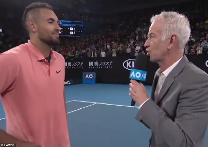 Kyrgios became emotional during the interview as the American superstar praised him for his response to the Australian bushfire crisis