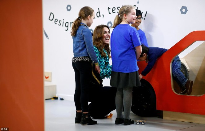 Children from Henley Montessori and St Paul's Nursery in Balsall Heath showed Kate their workshop in Birmingham yesterday