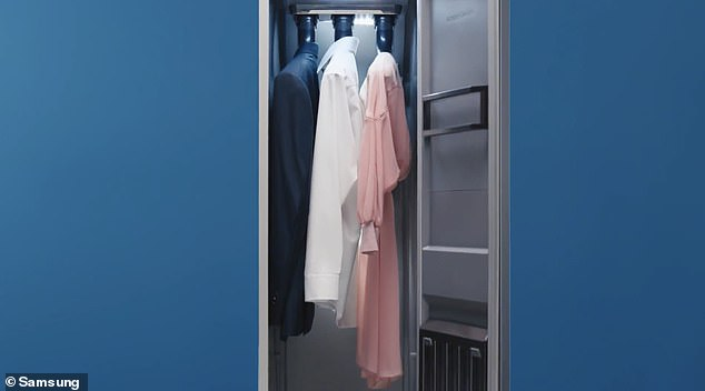 The underside of the three hangers blasts jets of steam into the clothing - but the device can only take three dresses or jackets and three trouser pairs at a time