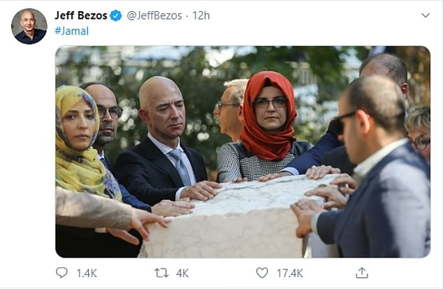 Amid the fallout from the story, Bezos tweeted an image of himself alongside Khashoggi's former fiancee with the hashtag 'Jamal' as a reminder of the journalist's death