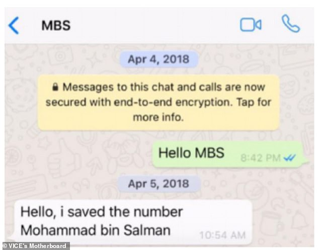 The first messages between Bezos, in green, and the Saudi prince were in April after they met at a dinner in Hollywood