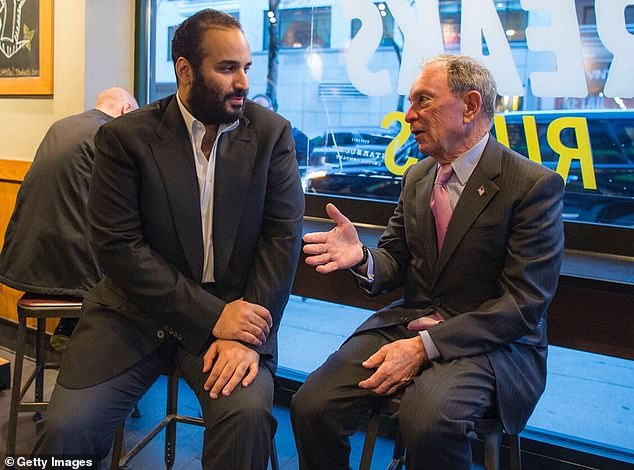 Mike Bloomberg, who is now running for the Democrat nomination for president, meets with Bin Salman in a cafe in New York