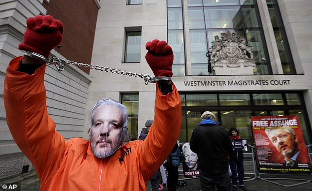 A demonstrator supporting Julian Assange wears a mask and chains outside the court today