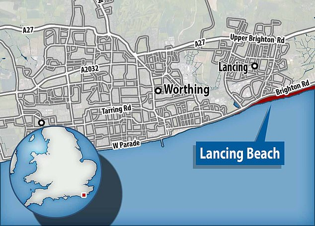 The ring was found in the shingle of Lancing beach (pictured). Plans are in place to reunite the ring with the owner's great, great, great, great niece