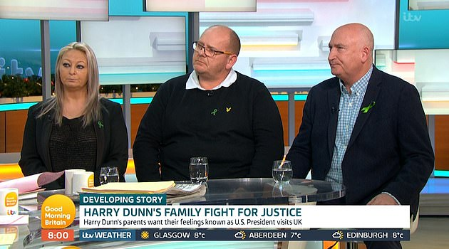 The parents of Harry Dunn, Charlotte Charles and Tim Dunn (left and centre) along with their family lawyer and representative Radd Seiger (right) pictured together on Good Morning Britain in December