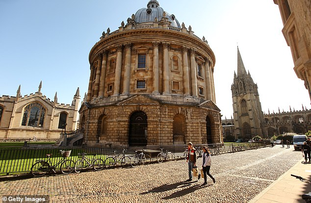 The academic, who said she was now being accompanied by 'two big burly guys' to her lectures, claimed complaints were made because of the teaching of her version of feminist history. Pictured: Radcliffe Camera building in Oxford city centre